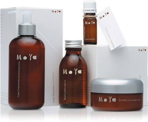 Retail Products - The Moya Retail range is easily identified by its own unique packaging. The fragrant products, in our distinctive brown bottles are boxed in a cream Moya box sporting the unique logo and simple design.
