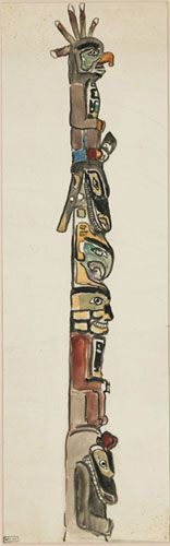 Sun and Thunderbird, Alert Bay, B.C., 1912 Emily Carr, watercolour. BC Archives PDP00622