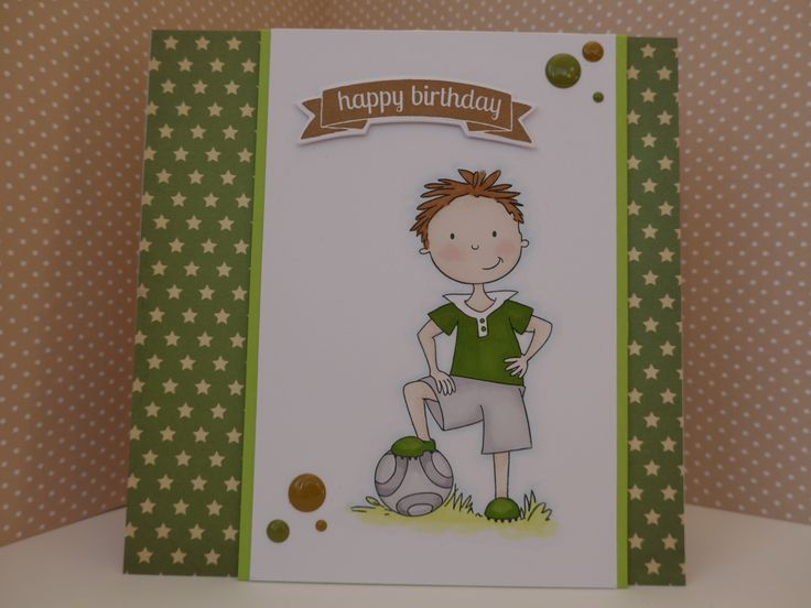 Boys card using Wild Rose Studio Football lad stamp.