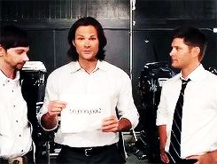"""This gif is great. I love how Jensen just stands there and laughs. And Jared is all like """"You took away my sign. Jensen, can I shoot him?"""""""