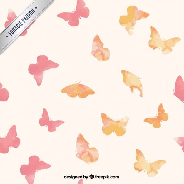 Free vector Hand painted butterflies pattern #2496