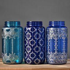 Barattolo di vetro vaso, Boho Home Decor con accenti in metallo argento, scegliere da tre tonalità di vetro brillanti e disegni di henné
