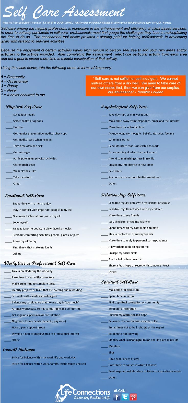 To lead a whole and healthy life, even if you are not a care-giver. This self care assessment speaks to teachers and parents as well as anyone seeking balance in their life.
