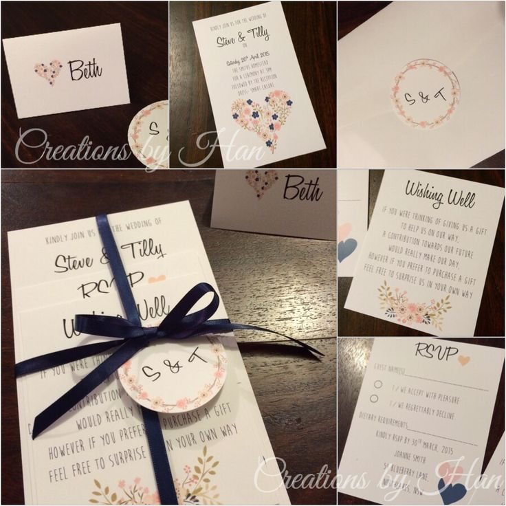 Navy And Blush Wedding Invitation Suite Complete With Invite Rsvp Card Wishing Well
