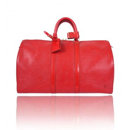 Vintage Louis Vuitton Keepall 45 in red Epi Leather. A classic of the Louis Vuitton travel bag collection.