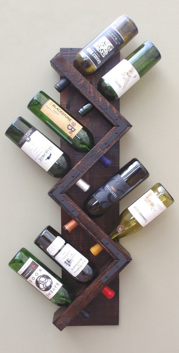Wood Wine Rack-Rustic Wine Rack-Wine Bottle Display-Hanging Wine Rack-Wall Mounted Wine Rack Holds 8 Bottles-Handmade