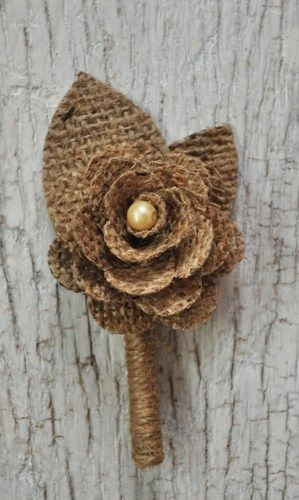 Rustic Burlap Boutonniere for the groom or groomsmen