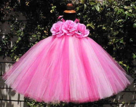 Pink Tutu Dress  Custom Sewn Tutu Dress  STRAWBERRY by TiarasTutus, $60.00    @Michele Olortegui    This is super cute, I LOVE the flower details.