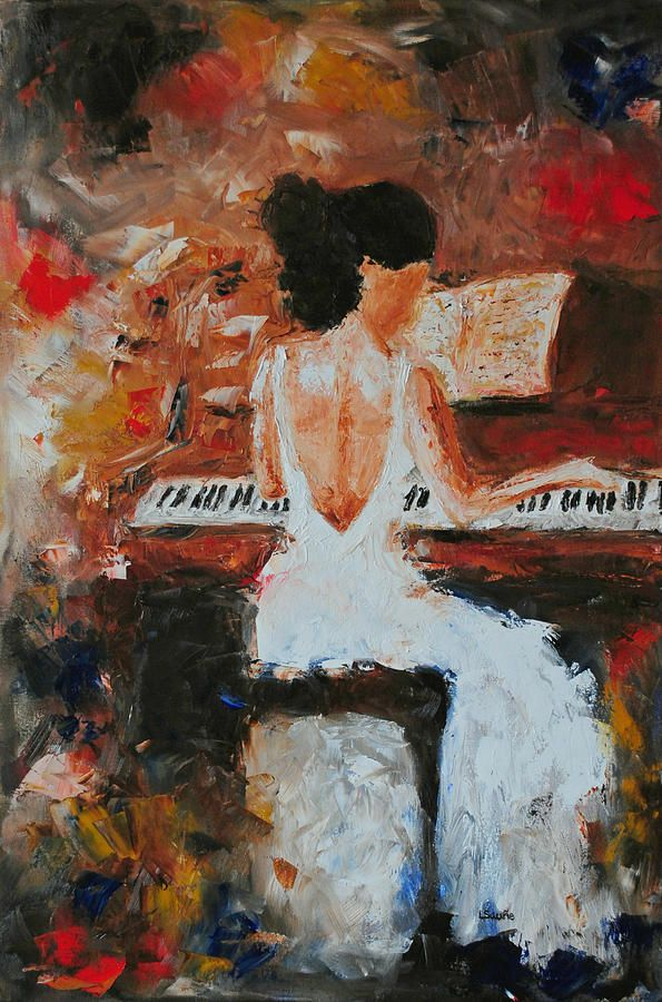 Piano Painting Painting - The Pianist-abstract Impressionism Music Piano Figure Oil Painting by Laura