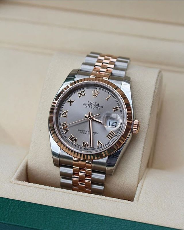 Perfect for any lady  The 36mm Rolex Datejust in two tone steel and everose gold  Photo by @sportwatchmania
