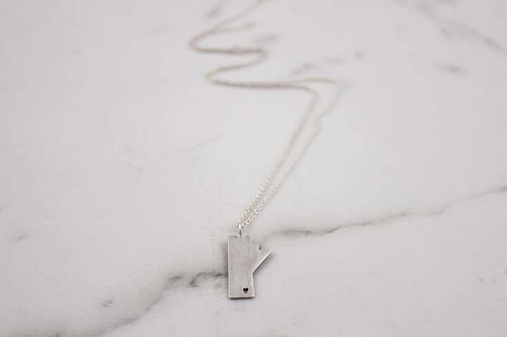 I left my heart in Manitoba sterling silver necklace