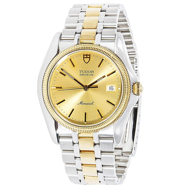 Refurbished 18K Yellow & Stainless Steel Pre-Owned Tudor Monarch 15633 Mens Watch