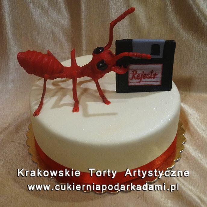 042. Tort czerwona mrówka z dyskietką. The red ant with disk cake.