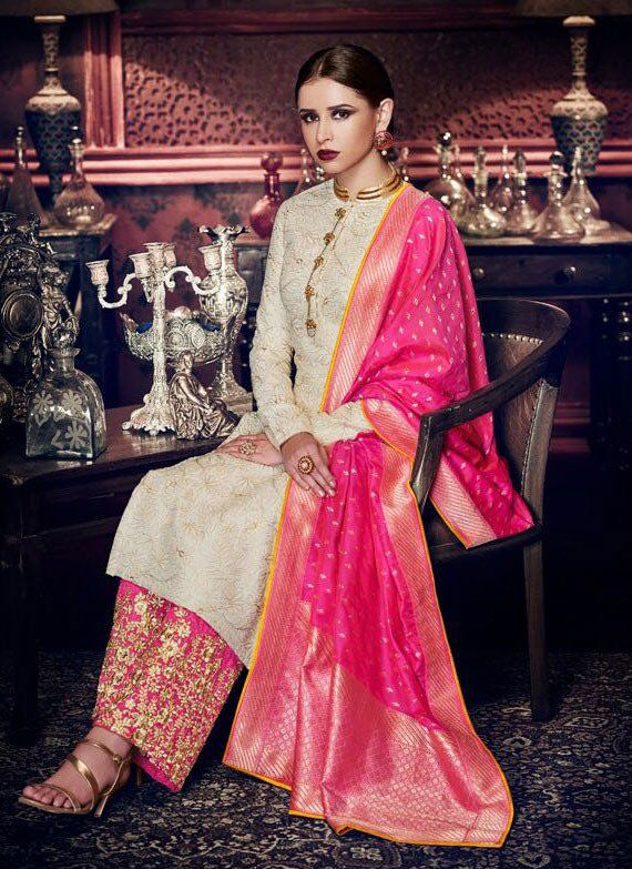 824787ed4a Gorgeous Pearl White Designer Palazzo Suit in 2019   Palazzo Suits   Designer  salwar suits, Salwar suits, Palazzo suit