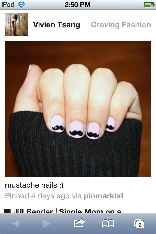 Mustache nails cute!
