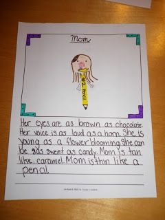 kids write simile stories about a friend. I think I will try this one but on a family member.