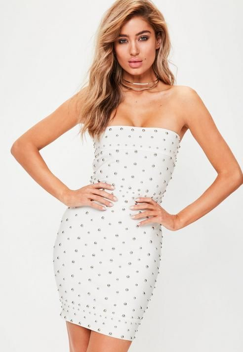 White Premium Studded Bandage Dress. What a perfect date night outfit and it flatters the figure. Shop the Missguided sale and get 50% off