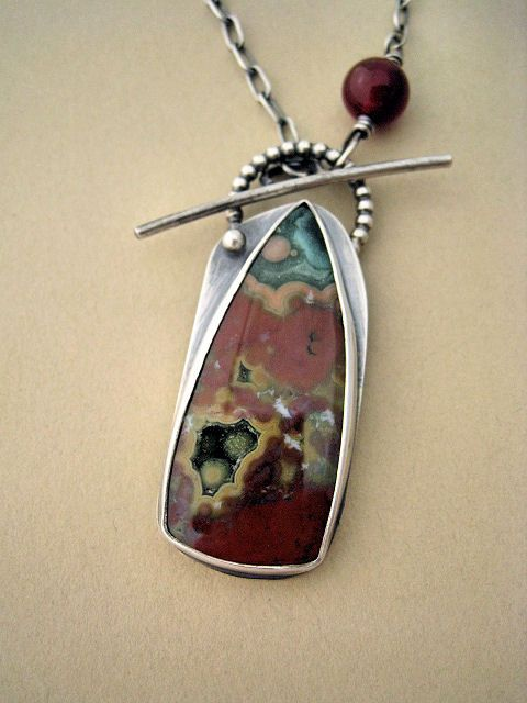 Ocean Jasper Necklace--Fantastic Cab! Neat idea to have the toggle clasp also serve as the bail. Bead adds a great finish