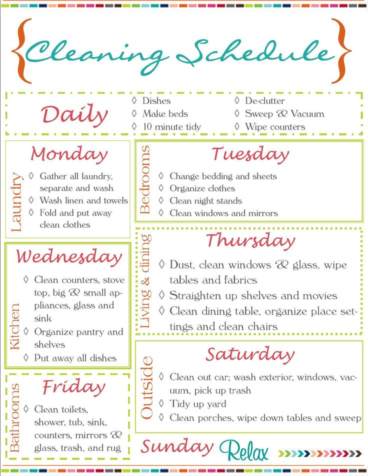 Cleaning schedule - because if a read about cleaning that might make it happen right?