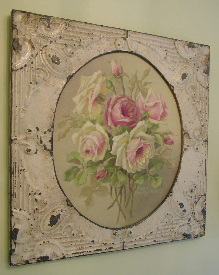 Rosy Bouquet in tin frame