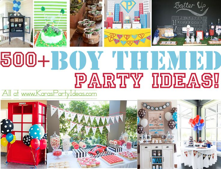 500 + Awesome BOY themed PARTY IDEAS! At www.KarasPartyIdeas.com