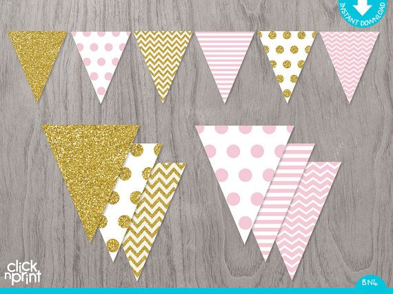 Pink and Gold Printable Birthday Banner Printable Pink and