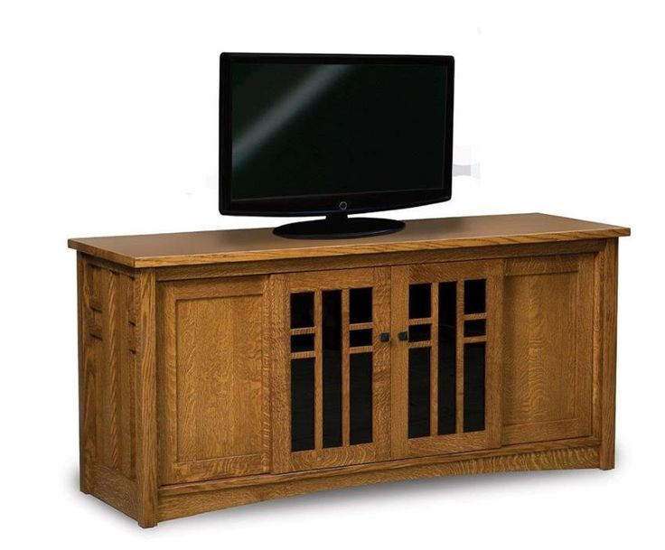Amish Kascade TV Stand With Four Doors