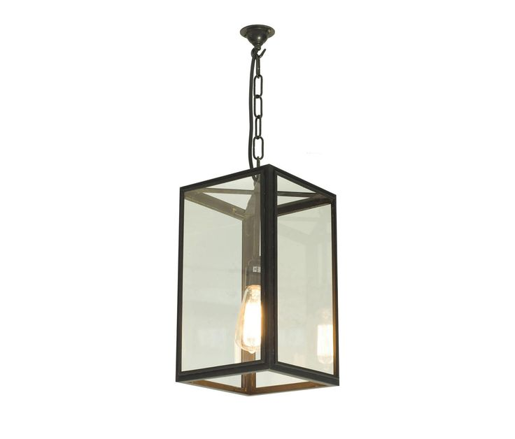 7639 Square Pendant External Glass Weathered Brass Clear By Davey Lighting Limited