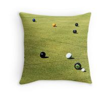 Lawn Bowls, Playing A Competition. Throw Pillow