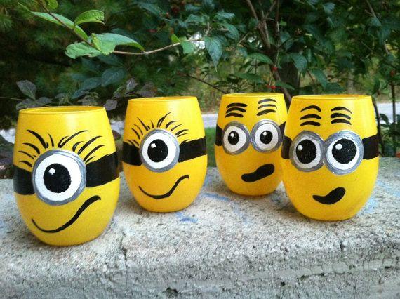 Minion Mania Set of Four Stemless Wine Glasses by srolston123, $50.00