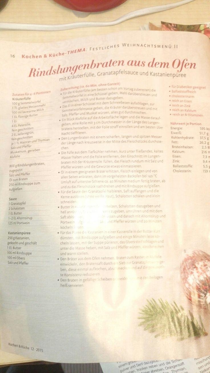 Rindslungenbraten mit Granatapfelsauce und Kastanienpürree