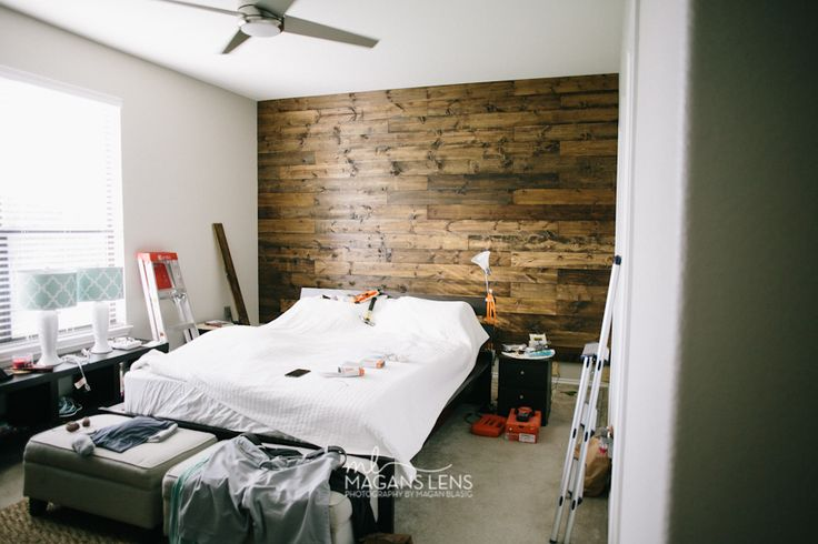 tutorial for wood plank wall in master bedroom