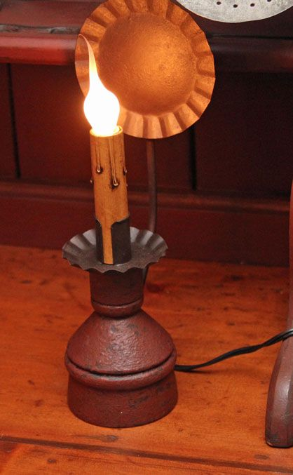 Electric reflector candle holder red over black