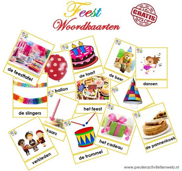 Feest woordkaarten. Download deze feestelijke woordkaarten via de website van www.peuteractiviteitenweb.nl