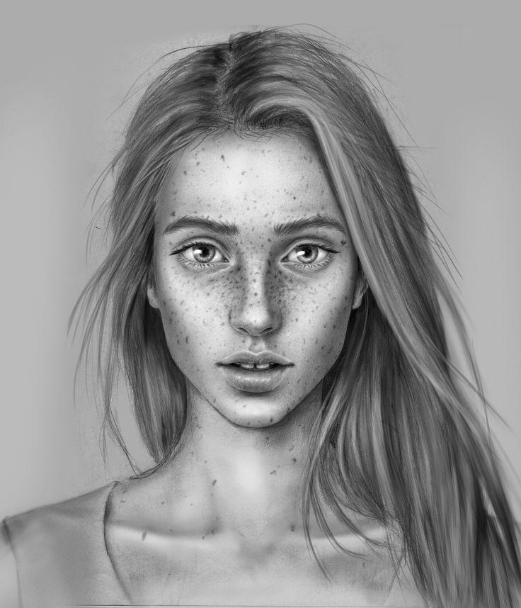 #freckles #greyscale #photoshop #digitalart