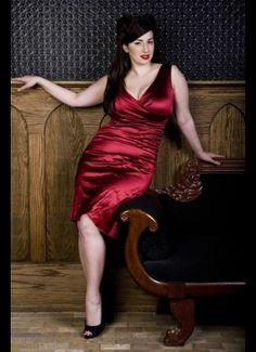 Curvy Woman Red Satin Wiggle Dress and Black High Heels  Beautiful Curves  Dresses Pinup