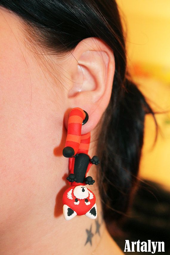 Red Panda Ear Critter Plugs Available In 2g 0g By Artalyncreations Pinterest And Flesh Tunnel