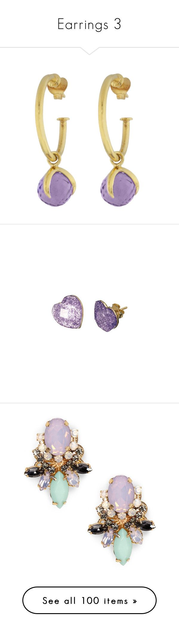"""""""Earrings 3"""" by kiteshop ❤ liked on Polyvore featuring jewelry, earrings, hoop earrings, amethyst hoop earrings, talon earrings, claw jewelry, vermeil earrings, accessories, purple and fillers"""