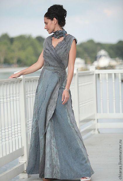 Stunning, floor-length elegant felt dress