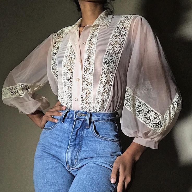 (Masha Roush) Vintage 50er Jahre schiere rosa Bluse