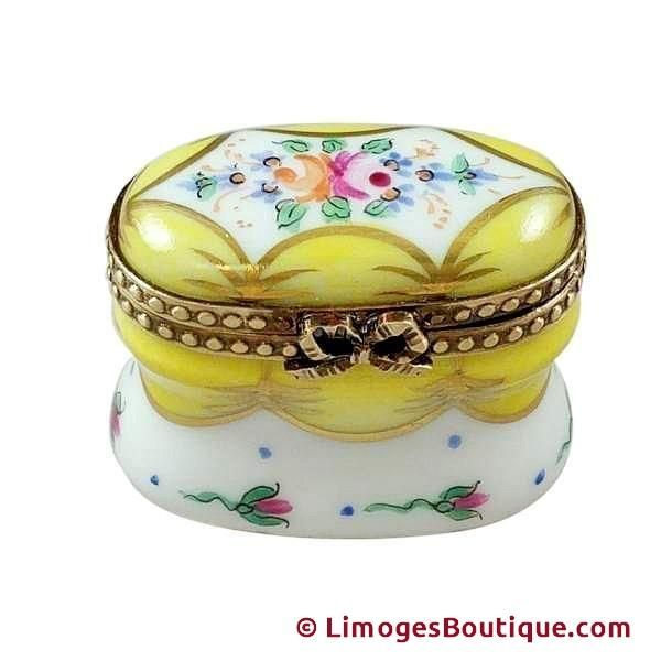 YELLOW CHEST WITH FLOWERS LIMOGES BOX