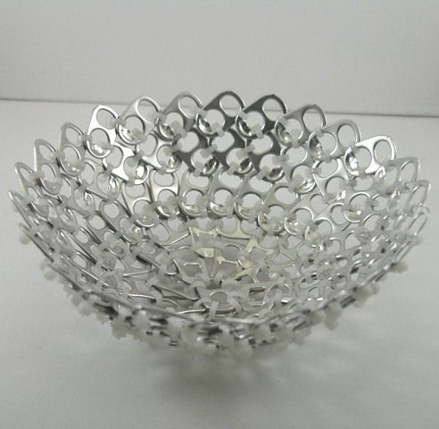 pop tab bowl - white zip ties
