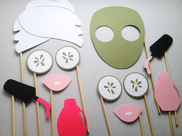 Warm summer weather can sometimes be hard on your skin. Indulge in a spa day either at home or at a local salon and treat yourselves to facial masks and pedicures. These photo props are hilarious and very cute. Use them to create some memorable snaps of the party.