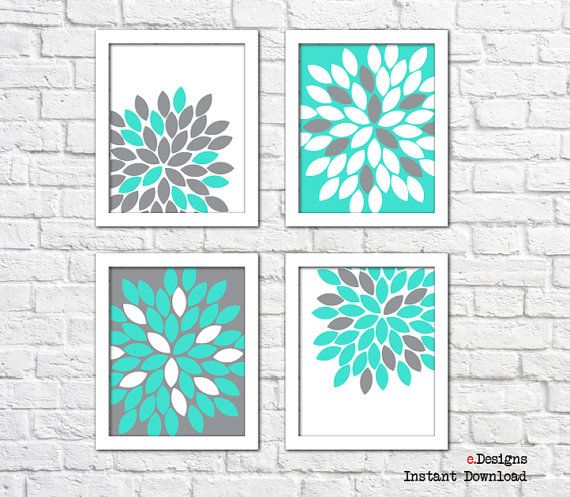 Printable Floral Wall Art Turquoise and Grey Wall by eDesignss
