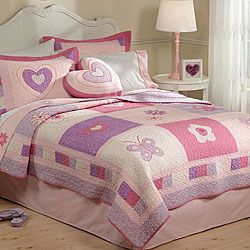 Fun kids' bedding features bright colors and appliqued patterns  Comforter set will complement nearly any child's room decor  Bedding set includes a quilt and two decorative shams (one with twin size)
