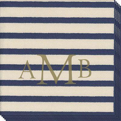 Monogrammed Blue Stripe Caspari Napkins