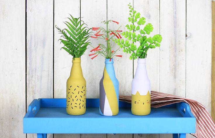Reaproveitamento: tutorial para pintar garrafa de vidro!