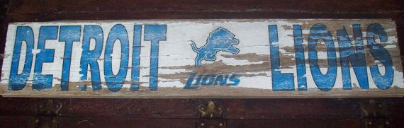 Detroit Lions Barnwood Sign 28x5 by TheRavagedBarn on Etsy, $25.00
