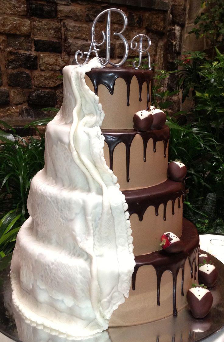 Half and Half Wedding Cake with Chocolate Tuxedo Strawberries