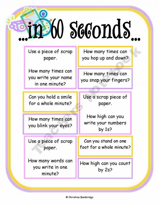 time math center - I'm thinking rewrite with relevant tasks such as: how many times can you write your spelling words in 60 seconds, how many pages of your book can you read, how many sight words can you write, etc.